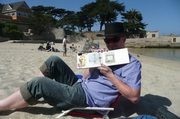 sketching lover's point beach